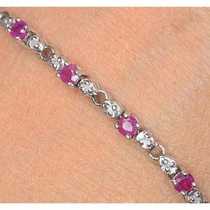 Jewelry - Pink Sapphire Diamond Tennis Bracelet 9 Carats Wom